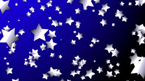 4K azul o estrella de plata que se mueve al centro del fondo o del espacio azul marino Gráfico del movimiento y fondo de la anima almacen de metraje de vídeo