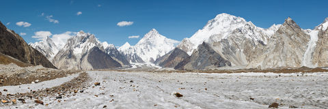 K2 and Baltoro Glacier Panorama Royalty Free Stock Image