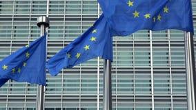 4K Bandeiras da União Europeia em seguido que acenam no vento, Comissão Europeia video estoque