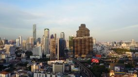 4K Bangkok cityscape from drone. Thailand Building central business zone. Bird eye view stock video