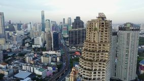 4K Bangkok cityscape from drone. Thailand building central business zone. Bird eye view stock footage
