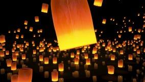 4k beau, lanternes volant en ciel nocturne clips vidéos