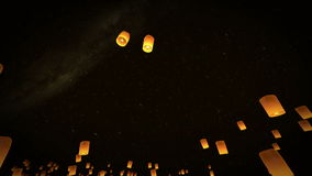 4k beautiful 3d animation lead couple Lanterns flying in night sky stock video