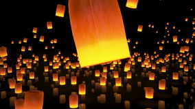 4k beautiful, Lanterns flying in night sky. 4k beautiful 3d animation, a lot of Lanterns flying in night sky