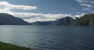 4K, Beautiful Pan along the Sognefjord, Norway Stock Images
