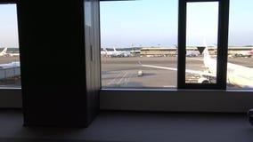 4K Beautiful View Of Passenger Boarding Area In Tokio International Airport stock footage