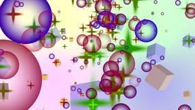 4K belebte bewegende Sterne und Würfel der Kreis-3D gegen einen Steigungshintergrund vektor abbildung