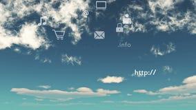 4k beräknande anslutningsbegrepp för moln, bakgrund för moln för tidschackningsperiod, faktiska internetsymboler arkivfilmer