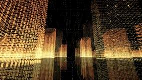 4k seamless loop Big Data Digital City,Flying Through the binary code urban.