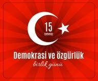 ¼ k Birlik Gunu 15 Temmuz do rlà do ¼ de Demokrasi VE özgà do feriado de Turquia Imagens de Stock Royalty Free