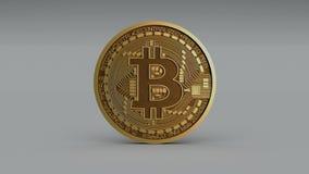 4k Bitcoin隐藏货币商标3D转动btc硬币财务企业动画 向量例证