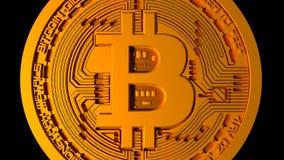 4k Bitcoin隐藏货币, btc硬币财务事务,从近的照相机自  皇族释放例证
