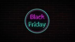 4K Black Friday sale neon sign banner background for promo video. concept of sale and clearance vector illustration