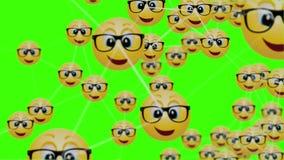 4k block-chain of geek emoticon icon motion background with plexus elements.