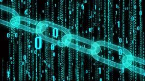 4k Blockchain Cripto-Währung bitcoin Der binäre Computercode der Matrixart stock abbildung