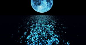 A 4K blue colored moon setting slowly over the ocean at night with the color of the moon reflecting light onto the ocean waves stock video