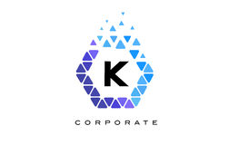 K Blue Hexagon Letter Logo with Triangles. K Blue Hexagon Letter Logo Design with Blue Mosaic Triangles Pattern vector illustration