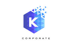 K Blue Hexagonal Letter Logo Design with Mosaic Pattern. K Blue Hexagonal Letter Logo Design with Mosaic Blue Pattern Royalty Free Stock Photos