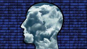 4k Brain head connect digital lines,AI artificial intelligence,cloud computing.