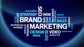 Brand Marketing Animated Tag Word Cloud,Text Design Animation seamless loop.