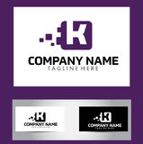 K Brief Logo Design Vector Business Card Stock Foto's