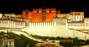 4k Brightly lit Potala at night in Lhasa,Tibet. 4k Brightly lit Potala at night in Lhasa, Tibet stock video footage