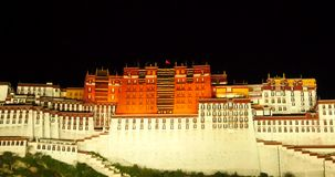 4k Brightly lit Potala at night in Lhasa,Tibet. Gh2_09693_4k stock video footage