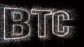 4k BTC Bitcoin di valuta di Cripto Il codice macchina binario di stile della matrice illustrazione vettoriale