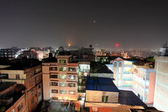 4K. Buildings with flats at night, timelapse. Kathmandu. stock video footage