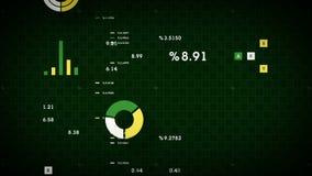 4K Business Data Scrolling Green