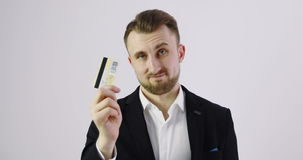 4K Business man giving a business card to the camera. stock video