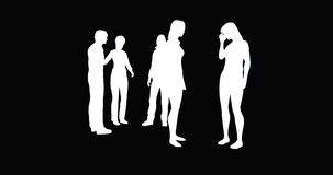 4k Business people silhouette talking or Using mobile Phones. stock footage