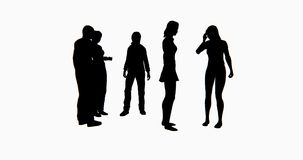 4k Business people silhouette talking or Using mobile Phones. stock video