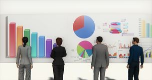 4k business team analyze finance pie charts & stock trend diagrams. Cg_03386_4k royalty free illustration