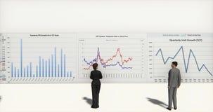 4k business team analyze finance pie charts & stock trend diagrams. Cg_03391_4k vector illustration