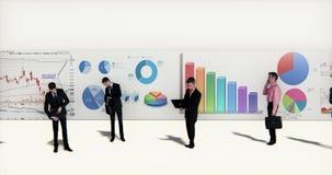 4k business team analyze finance pie charts & stock trend diagrams. Cg_03387_4k stock illustration