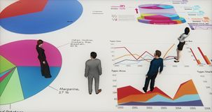 4k business team standing on the finance pie charts & stock trend diagrams. 4k business team standing on the finance pie charts & stock trend diagrams,analyze royalty free illustration