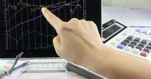 4k Businessman work on tablet with diagrams,finger touching finance pie charts. stock video
