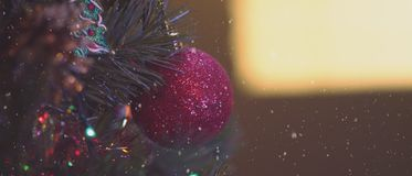 4,5k video of details of a Christmas tree, decorations and lights. stock video footage