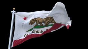 4k California Republic Flag with flagpole waving in wind.alpha channel included. Looping California Republic Flag with flagpole waving in wind.A fully digital stock video footage