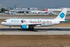 9K-CAN Jazeera Airways, flygbuss A320-214 med Kuwait flaggalivré Arkivbild