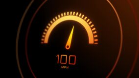 4K Car speedometer with speed level scale Animation.