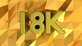 18K Hallmark on gold pattern background. 18K carat Hallmark on shiny gold pattern background. 3d rendering vector illustration