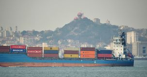 4k Cargo Container Ships Through The QingDao Harbo,moder urban building,china. Gh2_11326_4k stock footage