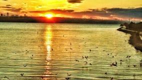 K.cekmece lake sundown royalty free stock image