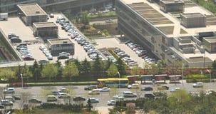 4k china urban city busy traffic jams,business building,air pollution. 4k china urban city busy traffic jams,highway street & business houses building,air stock video