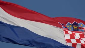 4K Chorwacja chor?gwiany falowanie w wiatrze Tricolour flaga