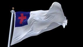 4k Christian Flag senza cuciture che ondeggia in vento Alfa canale incluso stock footage