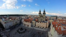 4K. Church of Our Lady before Týn, a gothic church in Old Town of Prague. Czech Republic. Views from the tower of the old town hall stock video footage