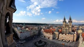 4K. Church of Our Lady before Týn, a gothic church in Old Town of Prague stock video